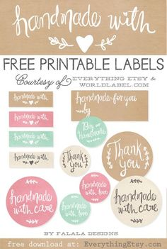 Adorn your handmade gifts with these Free Printable Handmade Gift Labels