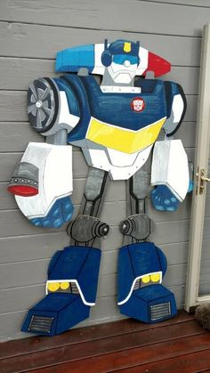 I made this chase for a birthday party, out of cardboard. He's just over 7 ft. 5th Birthday, Birthday Ideas, Rescue Bots Birthday, Diy Party, Party Ideas, Transformers Birthday Parties, Transformer Birthday, Party Planning, Baby Car Seats