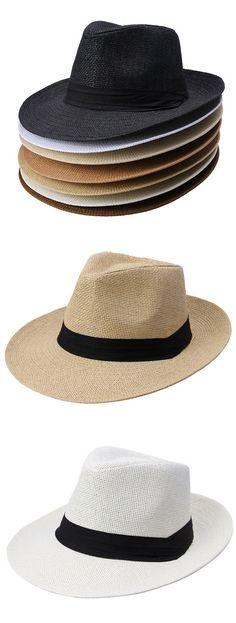 789fc33b59d94 Unisex Fedora Panama Wide Brim Trilby Straw Hat Sun Beach Cap Travel Black  Ribbon Sunhat