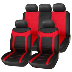 FH Group Red And Black Sports Front Bucket Seats Covers Set Of 2