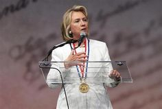 Former U.S. Secretary of State Hillary Clinton speaks at the Liberty Medal ceremony after receiving the award, at the National Constitution ...