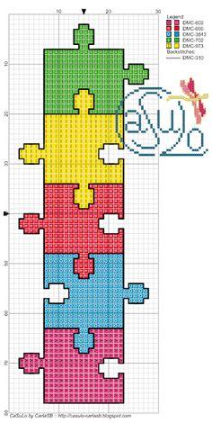CaSuLo by CarlaSB: Puzzles Cross Stitch Letters, Cross Stitch Bookmarks, Mini Cross Stitch, Cross Stitch Cards, Cross Stitching, Cross Stitch Embroidery, Embroidery Patterns, Stitch Patterns, Loom Patterns