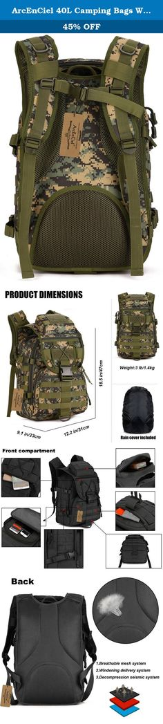 ArcEnCiel 40L Camping Bags Waterproof Molle System Backpack Military 3P Tad Tactical Backpack Assault Travel Bag Cordura -Rain Cover Included (Jungle Camouflage). Department: Unisex Structure 1.Exterior: Three zipped front pockets,Card Buckle Closure Package Cover,Cover with Two zipped pockets 2.Interior: 1 Magic pocket, 4 open pockets 3.Outer Material: High strength abrasion 1000D nylon. Inner Material: Waterproof Silky Cotton 4.Back: Thicken Breathablec Sponge 5.Hardware: Metal+Lengthen...