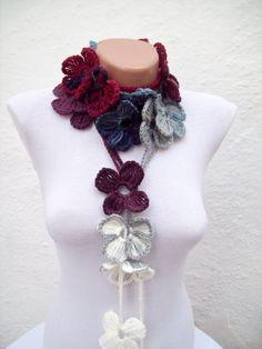 Hand crochet Lariat Scarf White Grey Blue Dark Blue by scarfnurlu