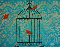 Red Canaries in a Bird Cage Original Painting by sheriwiseman