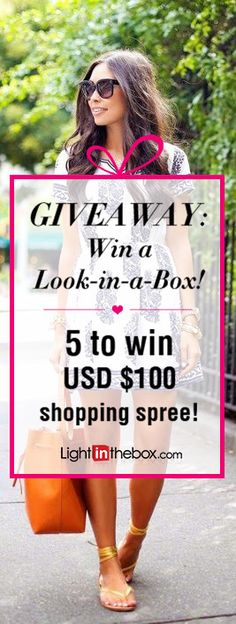 """Giveaway: Win a Look-in-a-Box! 5 to win USD $100 shopping sprees at lightinthebox.com! How to enter: 1. Follow us on Pinterest! 2. Repin your favorite look from our """"Shop street fashion!"""" board. 3. We will select five to win USD $100 shopping sprees at lightinthebox.com on April 29, 2015! Tell your friends and good luck to everyone!"""