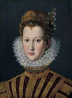 Marie de Médicis, reine de France et de Navarre, jeune fille  On peut émettre un doute sur l'identification traditionnelle de ce portrait. Ce visage très allongé ne ressemble guère aux autres effigies de Marie de Médicis dans sa jeunesse. À tout prendre, on pourrait pencher davantage (et encore n'est-ce pas fort convaincant non plus) pour un portrait de sa sœur Éléonore, future duchesse de Mantoue.