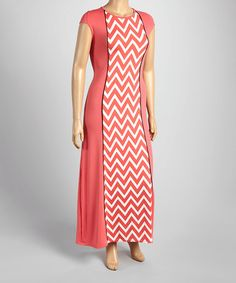 Look what I found on #zulily! Coral Zigzag Cap-Sleeve Maxi Dress - Plus #zulilyfinds