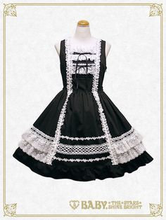 Baby, the stars shine bright Lace frill jumper skirt Estilo Lolita, Gothic Lolita Fashion, Lolita Style, Cosplay Outfits, Lolita Dress, Kawaii Fashion, Japanese Fashion, Dream Dress, Pretty Outfits