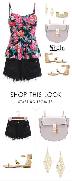 """""""Shein shorts"""" by blueeyed-dreamer ❤ liked on Polyvore featuring Gold Toe, Summer, contest, floral, denim and shein"""