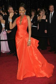 Love this for a Bridesmaides Dress |  Jennifer Hudson 2011 Sexy V Neck Orange Red [burnt orange] Oscar Taffeta Red Carpet Evening Formal Gown
