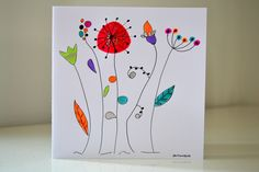 Carte Anniversaire illustration fleurs peinte à la main - Carte de Voeux originale - : Cartes par antonella-creation