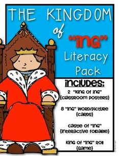 """The Kingdom of """"ing"""" Literacy Pack {Kindergarten and First Grade}. Includes picture/word cards, 2 posters, interactive castle and roll the dice game! $"""