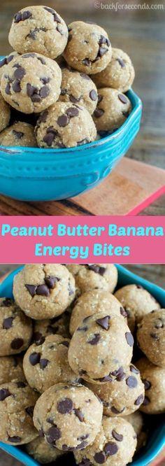 À voir en remplaçant par crèle de soja sinon trop de sucre...Peanut Butter Banana Energy Bites