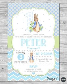PETER RABBIT PERSONALISED INVITATION 1ST BIRTHDAY PARTY SUPPLIES BOY GIRL BLUE #PersonalisedInvitations #Birthday