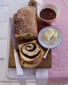 Chocolate Swirl Brioche Bread from Martha Stewart Living Brunch Recipes, Dessert Recipes, Desserts, Brioche Recipe, Brioche Bread, Brioche Rolls, Yeast Bread, Chocolate Swirl, Chocolate Brioche
