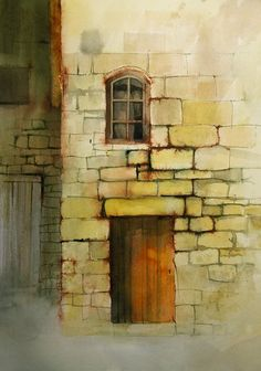 Stone wall/building in watercolor. 5
