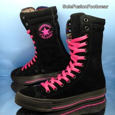 91afc5e27bb2 Converse Womens All Star Leather BOOTS Black pink Sz 6 X Hi Trainers Vtg US  8 39 for sale online