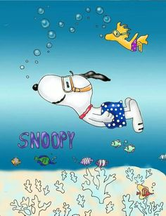 Buddies just swimming along in the deep blue sea... Snoopy & Woodstock