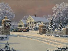 William Phillips - Winter Visitors At Kringle Hill Inn (http://www.hiddenridgegallery.com/store/william-phillips/winter-visitors-at-kringle-hill-inn.html) #art #williamphillips