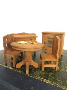 Vintage Wood Dining Room Doll Furniture Set, 5 Pieces, Doll House, Display, Photo Prop by UrbanRenewalDesigns on Etsy