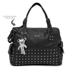 Il Tutto Frankie Nappy Baby Bag in Black with Gun Metal Girl Diaper Bag, Diaper Bag Backpack, Nappy Bags, Leather Baby Bag, Navy Tote Bags, Wholesale Bags, Bag Sale, Gun, Nursery