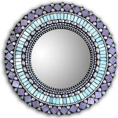 turquoise & purple mosaic mirror - Zetamari Mosaic Artworks
