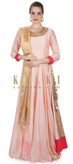 Blush Pink Cotton Silk Gown Featuring Zardosi Work and Brocade Side Kali only on Kalki