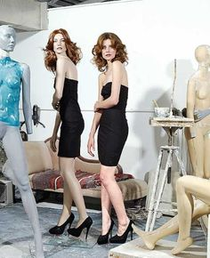 A model next to her finished mannequin at the Rootstein studio