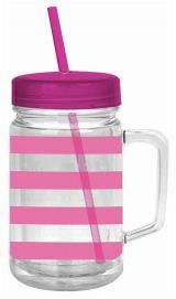 22oz Pink Preppy Stripe Acry Mason Jar w Lid and straw