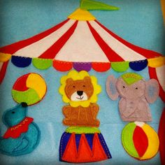 Circus puppet finger. Quiet book. Lion, elephant
