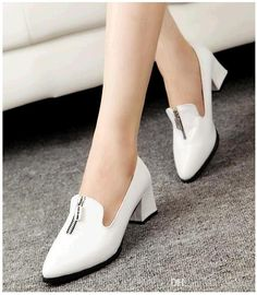 Fashion trend PU Pointed toe Mid Heel pumps shoes for girls Slingbacks British style Zipper women shoes #dhgatepin