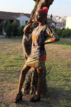 Vestido Laranja/Preto Rave, Style, Fashion, Orange Dress, African Textiles, Black, Women's, Outfits, Vestidos