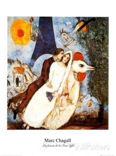 I fidanzati della Torre Eiffel Stampa di Marc Chagall su AllPosters.it