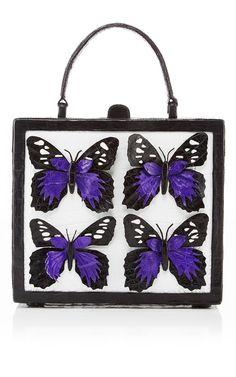 805485a9654 Butterfly Appliquéd Crocodile Box Bag by NANCY GONZALEZ for Preorder on  Moda Operandi Butterfly Bags