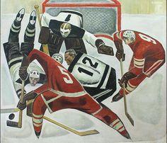 Socialist Realism, Soviet Art, Hockey Teams, Ice Hockey, Sports Art, Russian Art, Illustrations, Painting & Drawing, Football Helmets