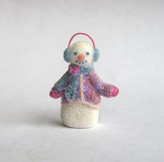 Miniature Old Fashioned Glitter Style Snowman with Earmuffs OOAK by C. Rohal