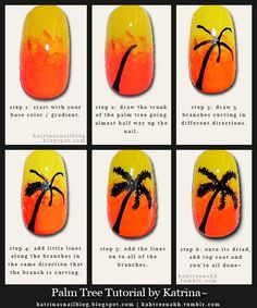 palm tree nail art written tutorial