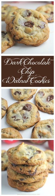 Ultimate Dark Chocolate Chip Toffee Walnut Cookies via /https/://www.pinterest.com/BaknChocolaTess/