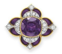 AN ANTIQUE AMETHYST, DIAMOND AND ENAMEL BROOCH, BY MARCUS & CO.   Set with a cushion-cut amethyst, within an old European-cut diamond and purple enamel foliate surround, mounted in 18k gold, circa 1900  Signed Marcus & Co.