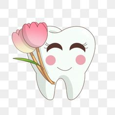 Hand painted tooth day tooth rose teeth PNG and PSD