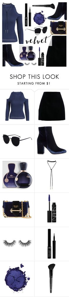 Crushing on Velvet by dora04 on Polyvore featuring Gianvito Rossi, Prada, Pat McGrath, Giorgio Armani, NARS Cosmetics, Old Navy, Velour Lashes and Lacoste
