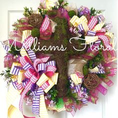 Spring Easter Mesh Wreath with Cross by WilliamsFloral on Etsy https://www.etsy.com/listing/220673612/spring-easter-mesh-wreath-with-cross