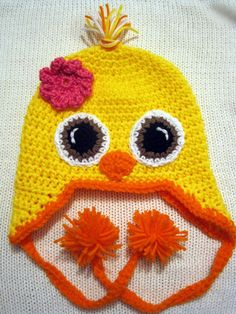 Yellow baby chick crochet hat with brown eyes by Egglintine, $20.00