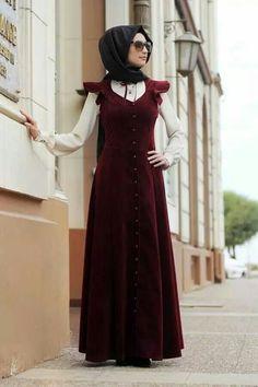 Shop Princess Velvet Dress - Red in Dresses category. Modanisa your online muslim modest fashion store. Abaya Style, Hijab Style, Abaya Fashion, Fashion Wear, Fashion Dresses, Muslim Women Fashion, Islamic Fashion, Modest Dresses, Pretty Dresses