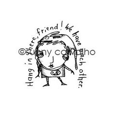 """Hang in There - SC5395G - Rubber Art Stamp(approx. image size 2 1/2"""" x 2 1/2"""" h) New from Sunny Carvalho!"""