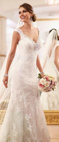 Elegant Spitze Brautkleid Lace Empire Hochzeitskleid lang rückenfrei mit Straß…