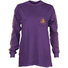 Pressbox Women's Lsu Tigers Mystic Long Sleeve T-Shirt ($36) ❤ liked on Polyvore featuring tops, t-shirts, purple, long sleeve tops, purple long sleeve top, longsleeve t shirts, graphic tees and long sleeve graphic tees