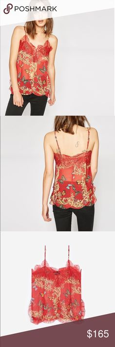 The Kooples Red Royal Butterfly Print Camisole NWT New with tags The Kooples red butterfly camisole.   This camisole is designed in delicate crepe and is distinguished by its print of butterflies and golden patterns on a red background that highlights its slightly baroque vibe. Its fluid cut is embellished with black lace at the neckline, guaranteeing its feminine look. Team it with tailored trousers or jeans  Original Price: 185.00 The Kooples Tops Camisoles