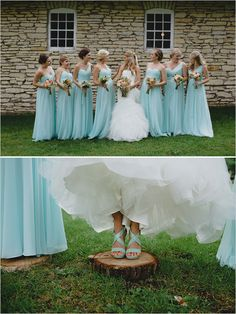 light blue bridesmaids and cute wedding shoes | flowers by Alesa De Jager | wedding coordinator Jill Drazkowski | photos by Ray + Kelly